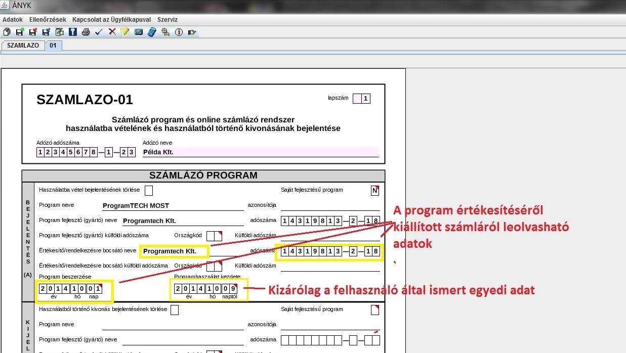 Számlázó program bejelentése NAV formanyomtatványon