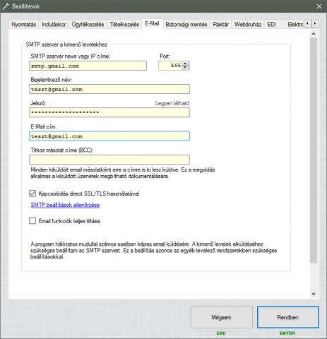 G-SMTP beállítása