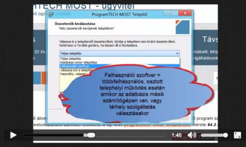 Felhasználói szoftver telepítése hálózatos működéshez telepítés második/harmadik stb. gépre